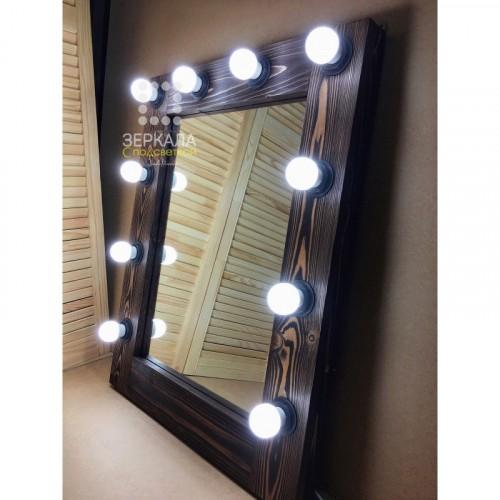 Гримерное зеркало с подсветкой из массива дерева 75х60