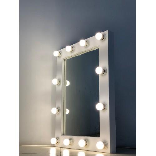 Гримерное зеркало в стиле лофт 80x60 белого матового цвета 12 ламп по контуру